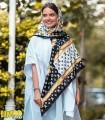 روسری پاییزه زمستانه نخی قواره بزرگ سفید مشکی لویی ویتون کد 2020