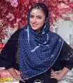 روسری نخی قواره بزرگ دخترانه توپی سرمه ای کد 2314