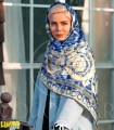 روسری پلنگی آبی کاربنی