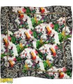 روسری مجلسی ابریشم سفید سبز کد 1591