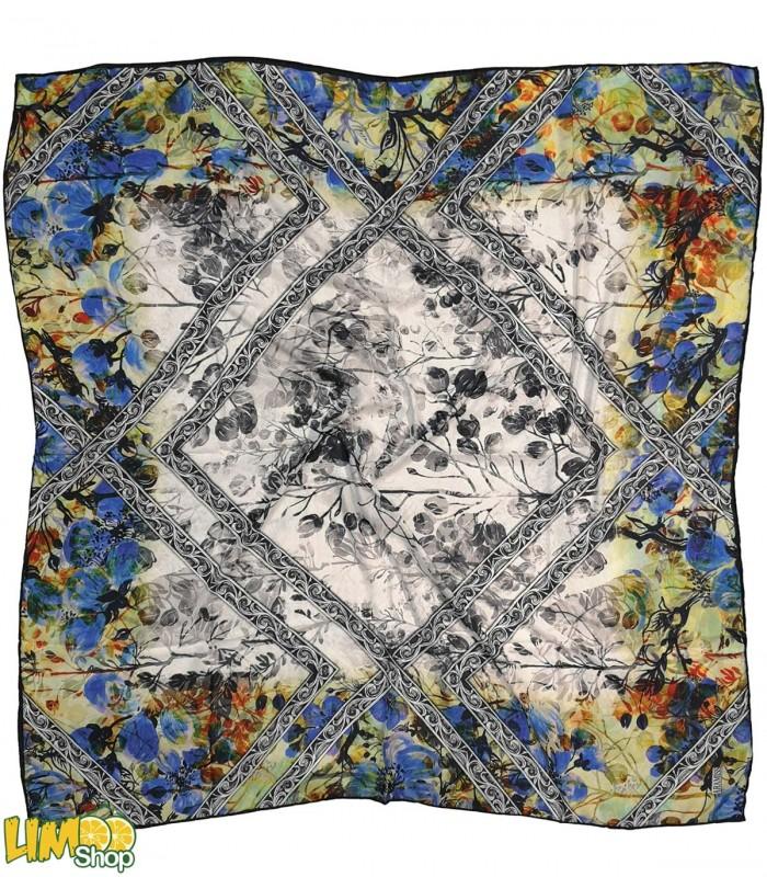 روسری نخی سفید آبی کد 2381