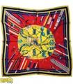 روسری مجلسی زرد قرمز کد 2384