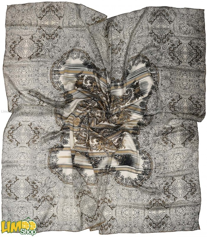 روسری مجلسی ابریشم سفید مشکی کد 608