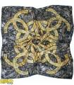 روسری پاییزه زمستانه نخی قواره بزرگ مشکی طلایی کد 1449