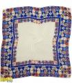 روسری نخی کرم حاشیه آبی کد 1665