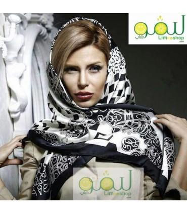 روسری سفید مشکی مجلسی 8645