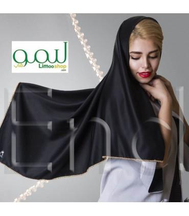 روسری حریر کرپ مشکی