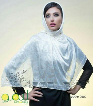 روسری سفید مجلسی 673