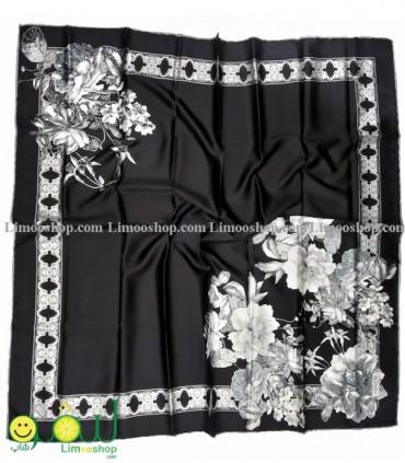 روسری مجلسی مشکی سفید