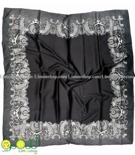 روسری سفید مشکی مجلسی حاشیه سنتی