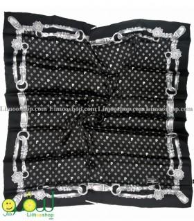 روسری ابریشم خالص مشکی سفید پیرکاردین