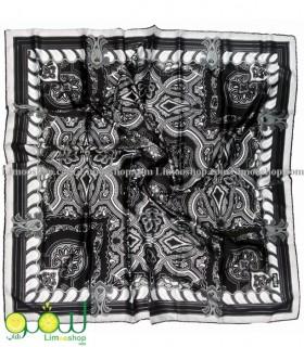 روسری مشکی سفید مجلسی