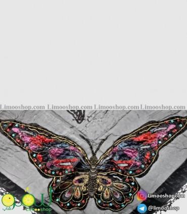 روسری سه گوش مجلسی مشکی نگین دار پروانه