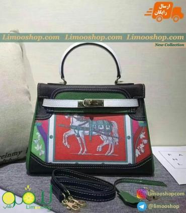 کیف هرمس مشکی سبز 1001