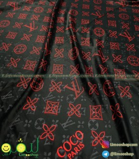روسری مشکی قرمز لویی ویتون لاکچری