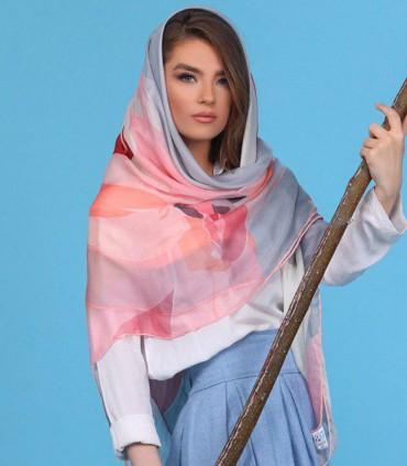 روسری طوسی صورتی 3876