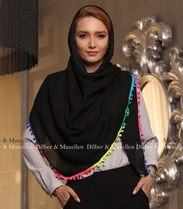 روسری مشکی منگوله آبرنگی