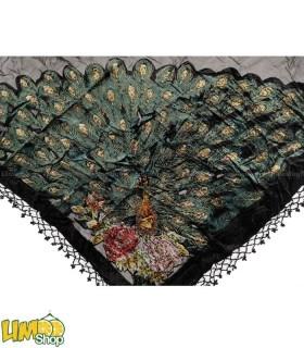 روسری سه گوش مجلسی نگین دار طاووس