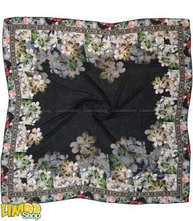 روسری نخی مشکی گلدار