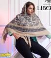 روسری پاییزه زمستانه نخی قواره بزرگ طرح سنتی کد 1718