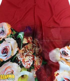 شال حریر زرشکی گلدار