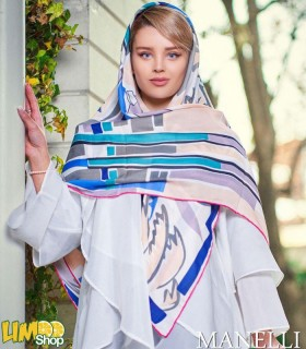 روسری نخی صورتی آبی