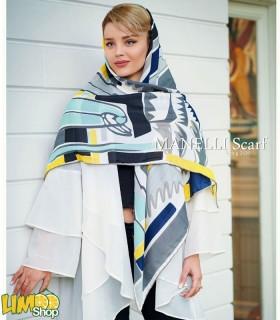 روسری نخی طوسی سفید
